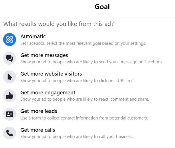 Facebook Ads Goal